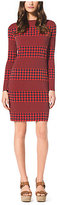 Michael Kors Striped Houndstooth Matte-Jersey Dress Petite