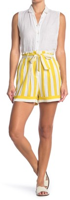 FRNCH Stripe Print Tie Waist Shorts
