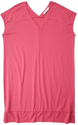 Mod-o-doc Cotton Modal Spandex Short Sleeve Double V-Neck Dress (Azalea) Women's Clothing