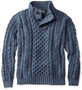 L.L. Bean Heritage Sweater, Irish Fisherman's Button-Mock