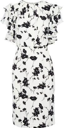 Mikael Aghal Ruffle-trimmed Floral-print Crepe De Chine Dress