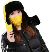 STEVE YIWU Unisex Outdoor Thicken Bomber Cap Ski Hat With Mask Faux Fur