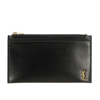 Saint Laurent Mini Leather Clutch Bag With Monogram
