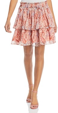 Aqua Paisley Print Ruffled Mini Skirt - 100% Exclusive
