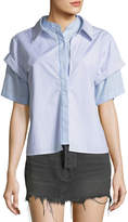 Alexander Wang Combo Striped Short-Sleeve Layered Top