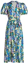 Badgley Mischka Floral Puff-Sleeve Belted Dress