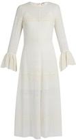 Saint Laurent Bell-sleeve broderie-anglaise georgette midi dress