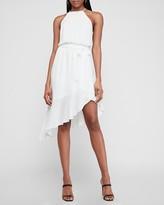 Express High Neck Asymmetrical Ruffle Wrap Midi Dress