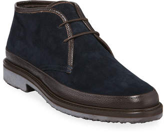 Ermenegildo Zegna Men's Trivero Suede Chukka Boots with Mud Guard, Blue