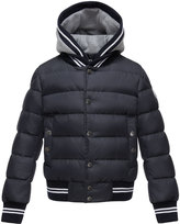 Moncler Auberie Tipped Puffer Jacket, Navy, Size 4-6