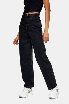 Topshop Womens Washed Black Baggy Jeans - Washed Black