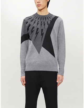 Neil Barrett Graphic-pattern wool, silk and cashmere-blend jumper