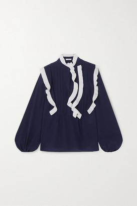 Chloé Ruffled Silk Crepe De Chine Blouse - Navy