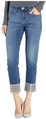 Jag Jeans Carter Girlfriend Jeans with Plaid Cuff in Brilliant Blue (Brilliant Blue) Women's Jeans