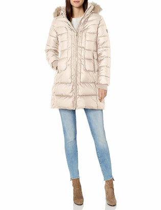 Larry Levine Women's 3/4 Length Puffer W/Curved Quilting & Detachable Faux-Fur Trimmed Hood