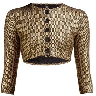 Lisa Marie Fernandez Cropped Seersucker Cardigan - Womens - Black Gold