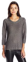 Ruby Rd. Women's Embellished Scoop-Neck Metallic Tape Yarn Pullover Sweater