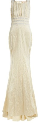 Brock Collection Octavia Lace-striped Hammered Satin Gown - Womens - Cream