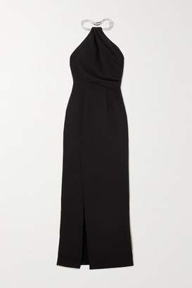 SOLACE London Danette Crystal-embellished Stretch-crepe Halterneck Maxi Dress - Black