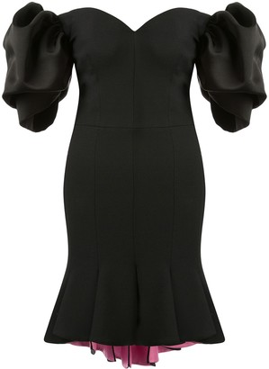 Alexander McQueen Peplum Hem Off-Shoulder Dress