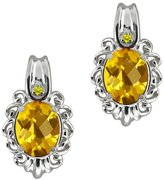 Gem Stone King 2.52 Ct Checkerboard Yellow Citrine and Diamond 18k White Gold Earrings