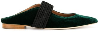 Malone Souliers Deep green velvet ballerina mules