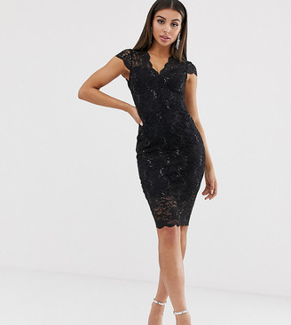 Flounce London scalloped sequin lace midi dress with cap sleeve in black