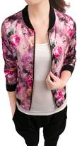 Allegra K Women Long Sleeve Zip up Floral Print Casual Bomber Jacket L