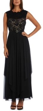 R & M Richards Sequined Lace Chiffon Gown