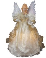 Kurt Adler 14-Inch Fiber Optic Ivory and Gold Animated Angel Treetop