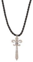 Silver & 2.00 Total Ct. Brown Diamond Sword Pendant Necklace
