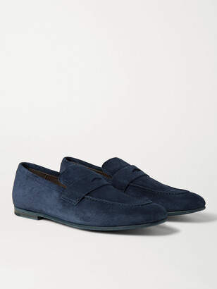 Dunhill Chiltern Suede Penny Loafers - Blue