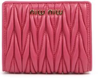 Miu Miu Magenta Matelasse Leather Wallet