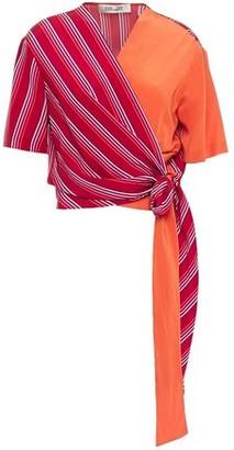 Diane von Furstenberg Striped Silk Crepe De Chine Wrap Top