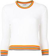 Courreges stripe trim ribbed top - women - Cotton/Cashmere - 1