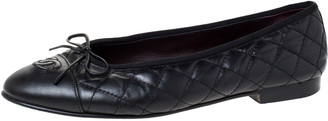 Chanel Black Quilted Leather CC Bow Cap Toe Ballet Flats Size 40.5