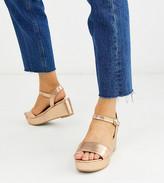 Asos Design DESIGN Wide Fit Tallie flatform sandals in rose gold