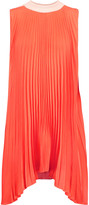 Vionnet Asymmetric plissé silk-blend chiffon and silk-blend jersey top