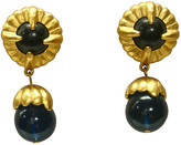 One Kings Lane Vintage Givenchy Blue Glass Drop Earrings - Wisteria Antiques Etc