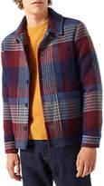 Jigsaw Italian Blanket Check Shirt Coat, Redwood