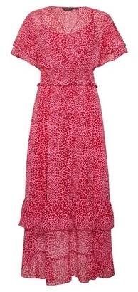 Dorothy Perkins Womens Pink Leopard Print Ruffle Midi Dress, Pink