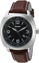 Roots Men's 'Core' Quartz Stainless Steel and Leather Casual Watch, Color:Brown (Model: 1R-PR100BA3C)