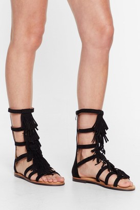 Nasty Gal Womens A-Frayed So Faux Suede Fringe Sandals - Black