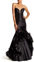Mac Duggal Sweetheart Ruffle Hi-Lo Gown
