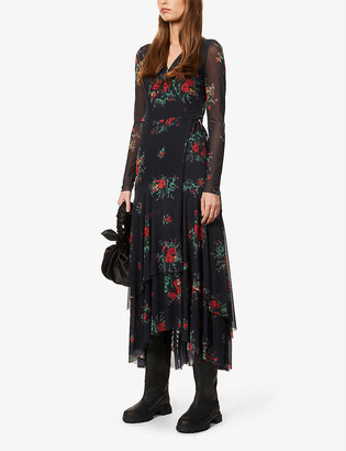 Ganni Floral-print wrap-over mesh midi dress