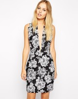 Style Stalker Stylestalker American Beauty Print Scuba Dress With Plunge Neckline