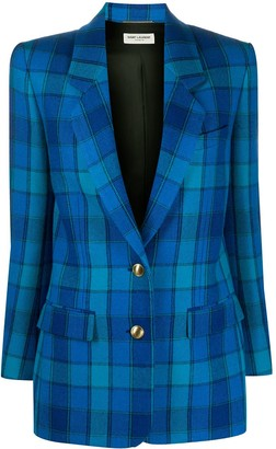 Saint Laurent Check-Pattern Single-Breasted Blazer