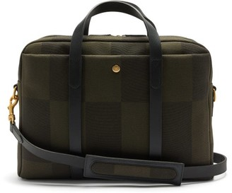 Mismo - Endeavour Checked Canvas & Leather Briefcase - Dark Green