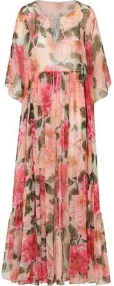 Dolce & Gabbana Pleated Floral-Print Maxi Dress