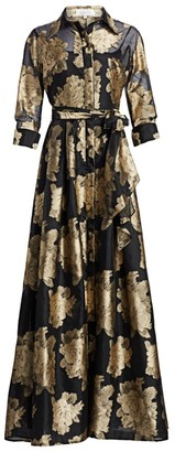 Teri Jon By Rickie Freeman Collared Floral Belted Gown